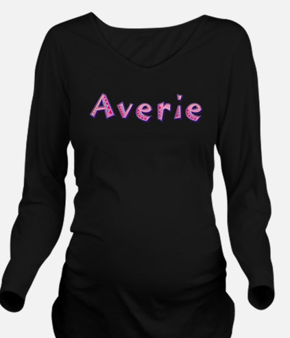 Averie Pink Giraffe Long Sleeve Maternity T-Shirt