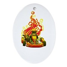 Kart Racer with Flames Ornament (Oval)
