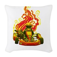 Kart Racer with Flames Woven Throw Pillow