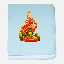 Kart Racer with Flames baby blanket
