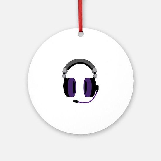 Video Gamer Headset Ornament (Round)