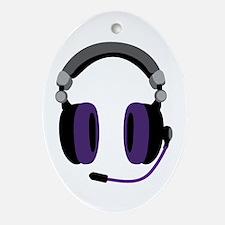 Video Gamer Headset Ornament (Oval)