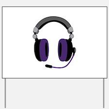 Video Gamer Headset Yard Sign