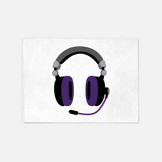 Video Gamer Headset 5'x7'Area Rug