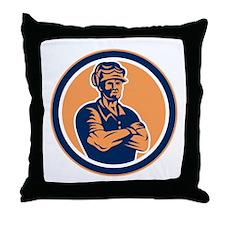 Builder Carpenter Arms Crossed Retro Throw Pillow