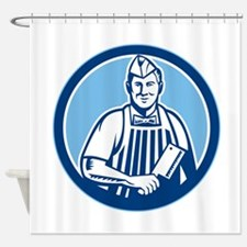 Butcher Meat Cleaver Knife Circle Shower Curtain