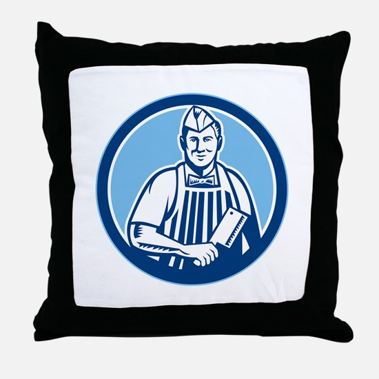 Butcher Meat Cleaver Knife Circle Throw Pillow