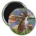 Lilies & Brindle Boxer Magnet