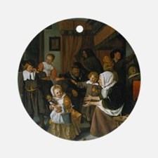 Feast of St. Nicholas; Jan Steen pa Round Ornament