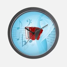 Red Accordion on Musical Background Wall Clock