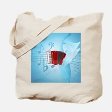 Red Accordion on Musical Background Tote Bag