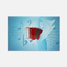 Red Accordion on Musical Backgrou Rectangle Magnet