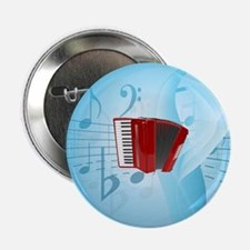 """Red Accordion on Musical Background 2.25"""" Button"""