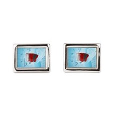 Red Accordion on Musical Background Cufflinks