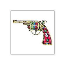 "Tattooed Handgun Square Sticker 3"" x 3"""