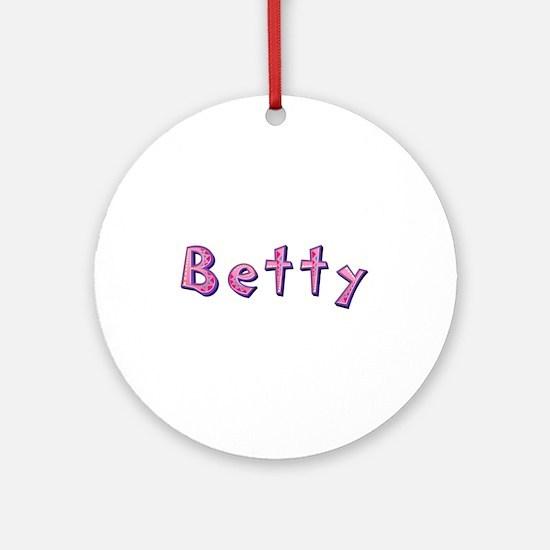 Betty Pink Giraffe Round Ornament