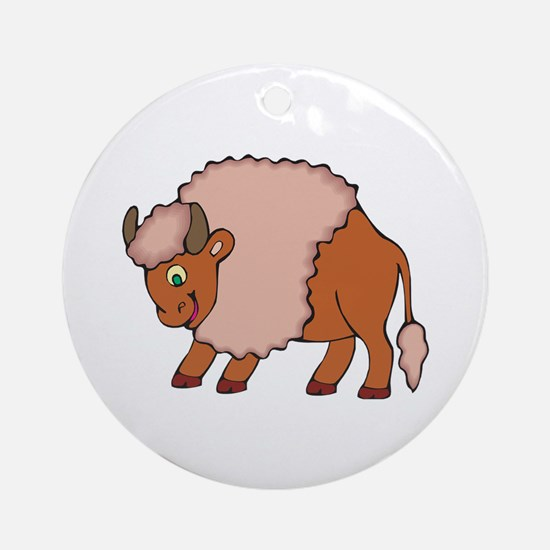 Cute Smiling Buffalo/Bison Ornament (Round)