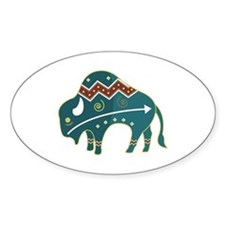 Native Buffalo Design Oval Decal