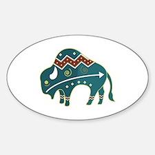 Native Buffalo Design Oval Decal