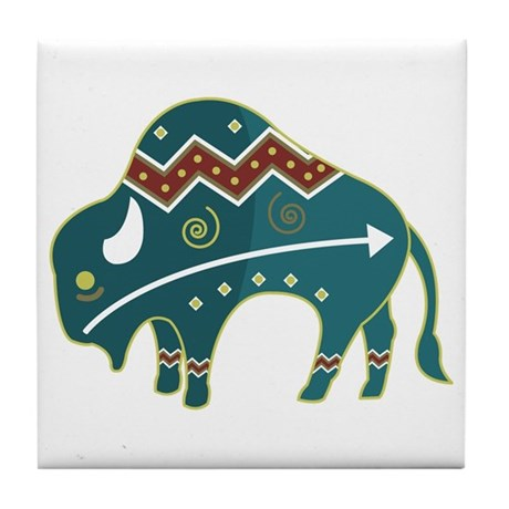 Native Buffalo Design Tile Coaster