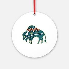 Native Buffalo Design Ornament (Round)