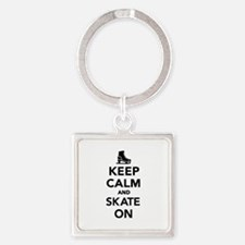 Keep calm and Skate on Square Keychain