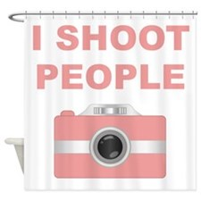 I Shoot People Pink Camera Shower Curtain