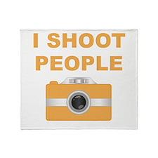 I Shoot People Orange Camera Throw Blanket