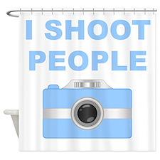 I Shoot People Blue Camera Shower Curtain