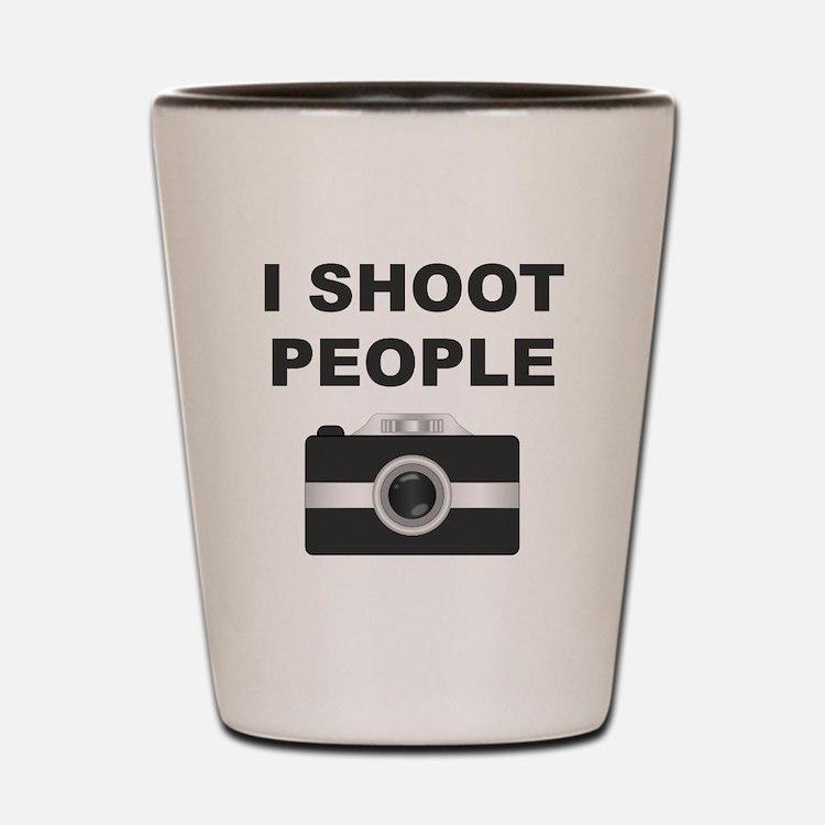I Shoot People Black Camera Shot Glass