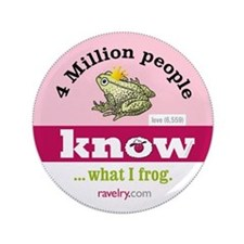 "Ravelry 4 Million Frog 3.5"" Button (100 Pack)"