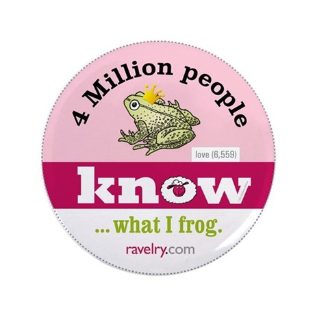 """Ravelry 4 Million Frog 3.5"""" Button (100 Pack)"""
