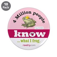 "Ravelry 4 Million Frog 3.5"" Button (10 Pack)"