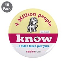 "Ravelry 4 Million Puppy 3.5"" Button (10 Pack)"