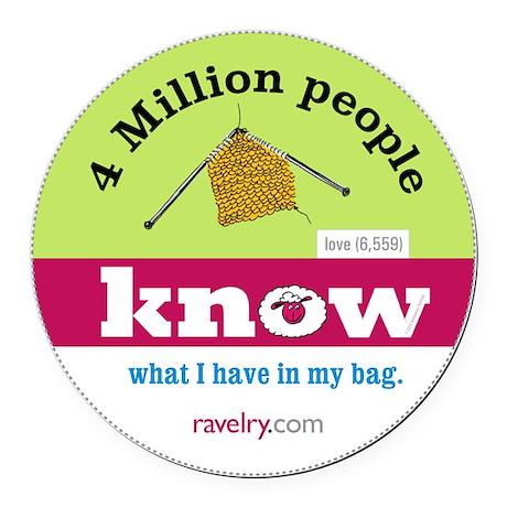 Ravelry 4 Million My Knitting Round Car Magnet