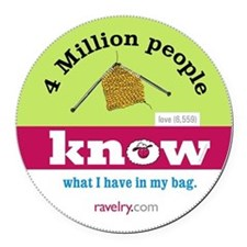 Ravelry 4 Million My Knitting Round Car Magnet