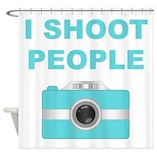 I Shoot People Aqua Camera Shower Curtain