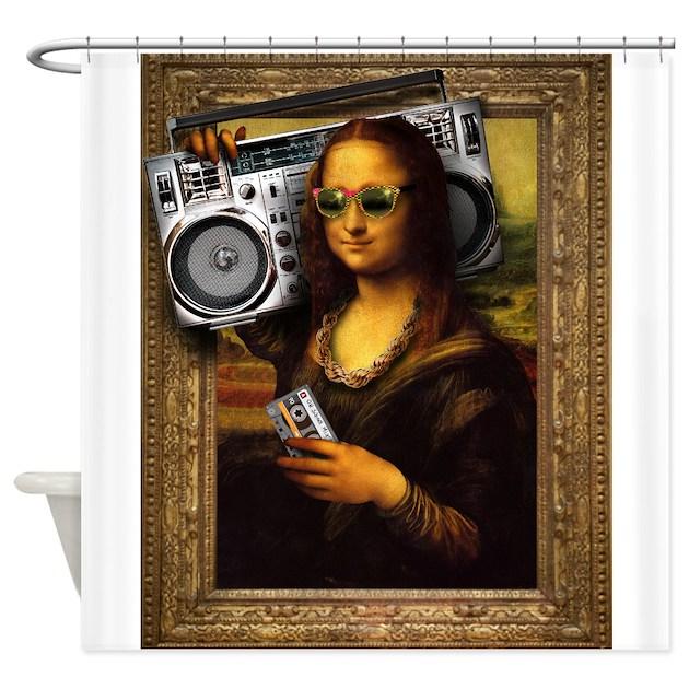 Boomer lisa shower curtain by boomboxgear for Mona lisa shower curtain