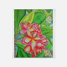 Hawaiian Plumeria Throw Blanket