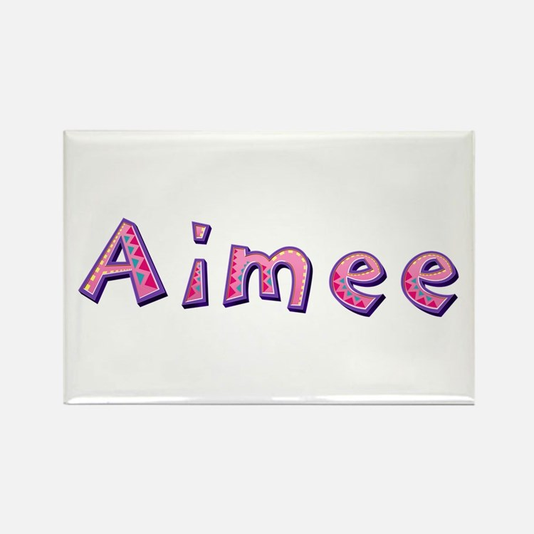Aimee Pink Giraffe Rectangle Magnet