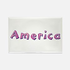 America Pink Giraffe Rectangle Magnet
