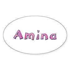 Amina Pink Giraffe Oval Decal