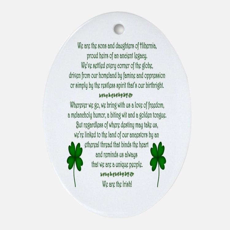 We Are the Irish Ornament (Oval)