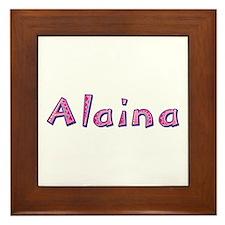 Alaina Pink Giraffe Framed Tile