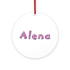 Alena Pink Giraffe Round Ornament