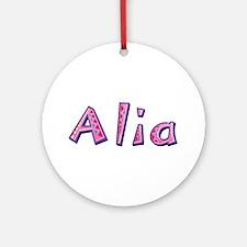 Alia Pink Giraffe Round Ornament