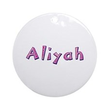 Aliyah Pink Giraffe Round Ornament