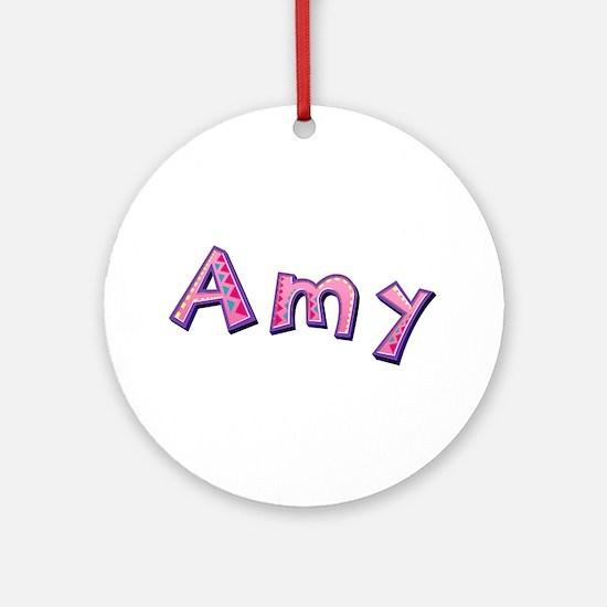 Amy Pink Giraffe Round Ornament
