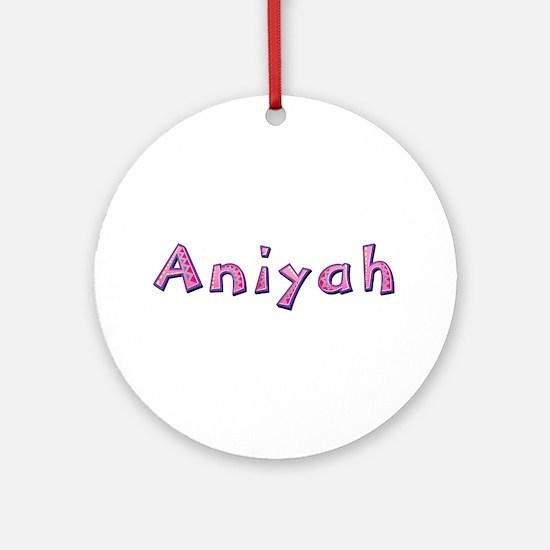 Aniyah Pink Giraffe Round Ornament