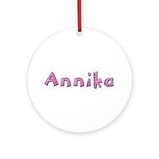 Annika Pink Giraffe Round Ornament